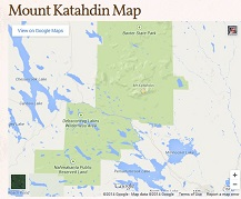 Satellite Map of Mt. Katahdin and Baxter State Park.
