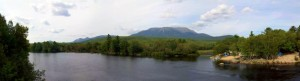 Panoramic photograph of Mount Katahdin from Abol Bridge.