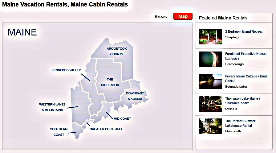 Maine vacation camps and cabins rental.