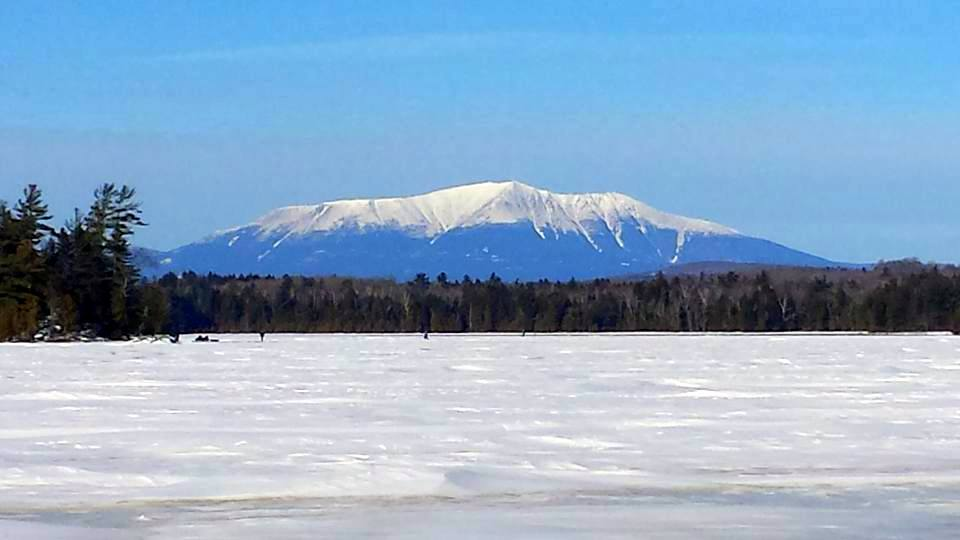 Picture of Mount Katahdin from a frozen lake.