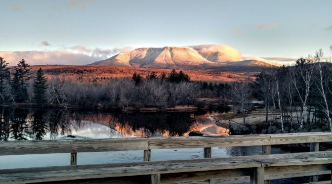 Mount Katahdin photographed in the winter from Abol Bridge - 7:28 am - Dec 4, 2017 - photo by Keith Dionne - DjD