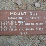 This vintage sign from Mount OJI is one of 10 signs included in the inaugural Friends of Baxter State Park sign auction. Photo by Aaron Megquier