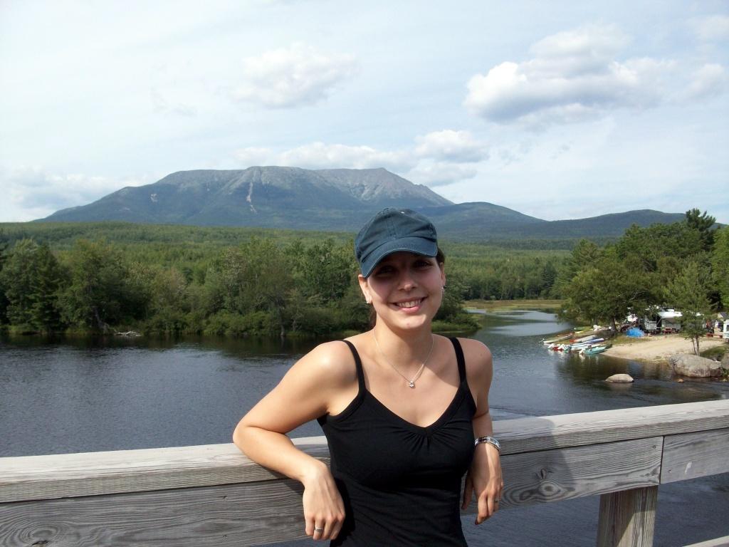 Me at Abol Bridge.  Mt Katahdin in the back.