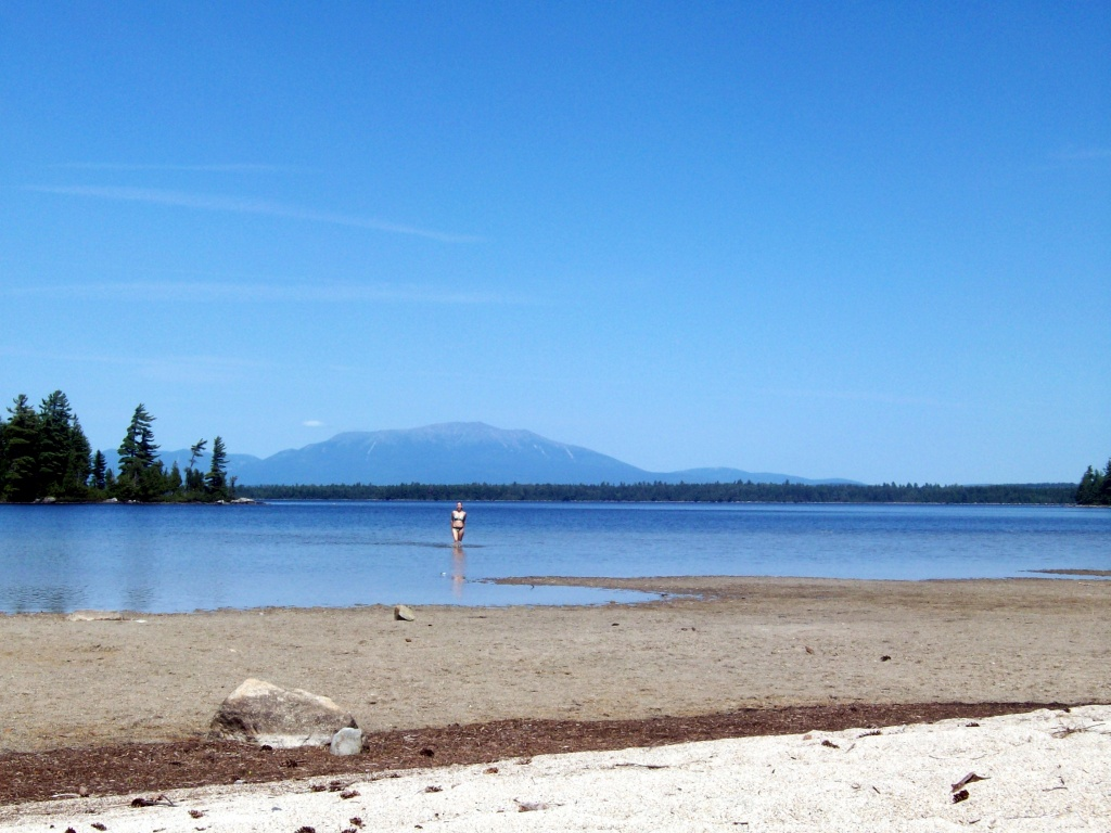 Mount Katahdin photograph from Jo Mary Lake beach.