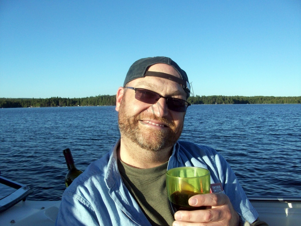 Riding on the boat on Pemadumcook Lake in Mid-Maine.