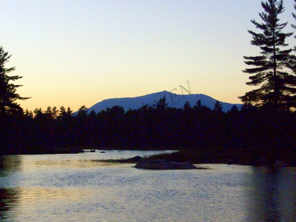 Mount Katahdin at sunset from Millinocket Lake, Maine.