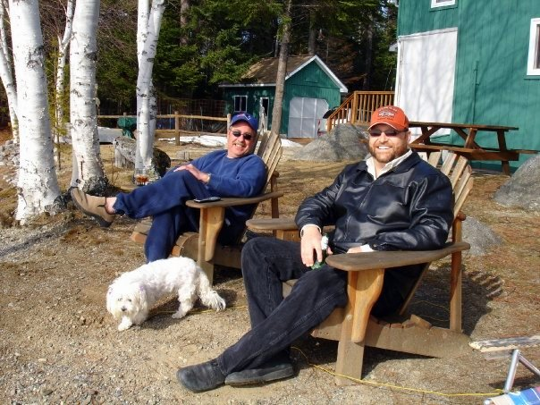 Mark Emerson and myself relaxing at South Twin Lake, Maine.  oh, and... Kiesha!