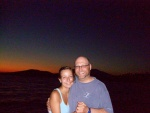 The hubby and me on Millinocket Lake with the mountain in the back.