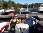 Sarah and I on the boat at 5 Lakes Lodge in Maine.