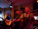 Phil Groves, me and Kerrin Quinn on-stage at Pam and Ivy's in East Millinocket, Maine.